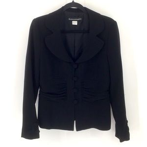 BIANCA NYGARD Black Button Front Ruched Blazer 8